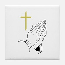 PRAYING HANDS AND CROSS Tile Coaster