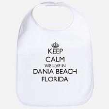 Keep calm we live in Dania Beach Florida Bib