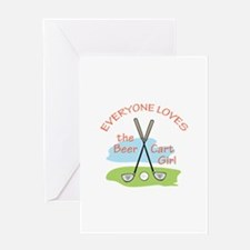LOVE BEER CART GIRL Greeting Cards