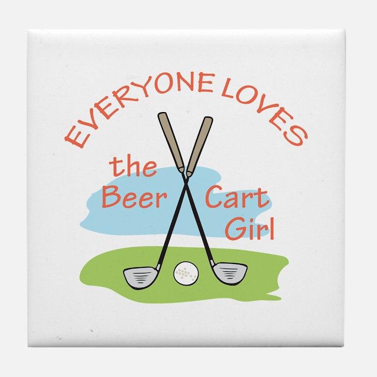 LOVE BEER CART GIRL Tile Coaster