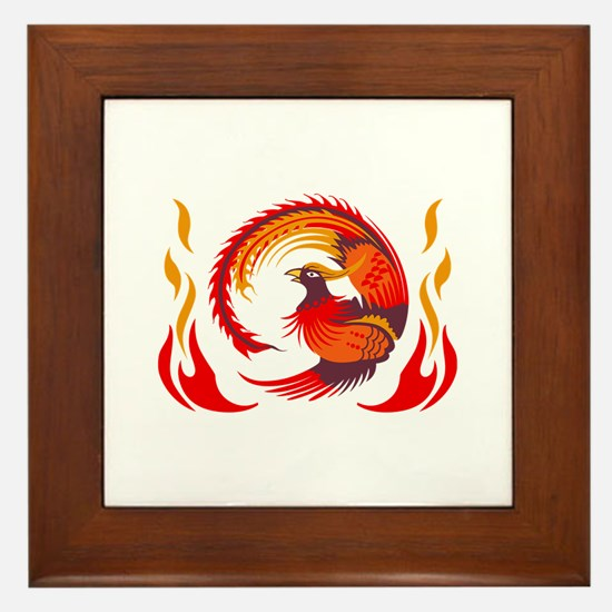 PHOENIX RISING FROM FLAMES Framed Tile