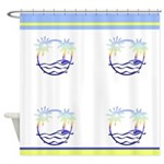 Colorful Beach Island Shower Curtain