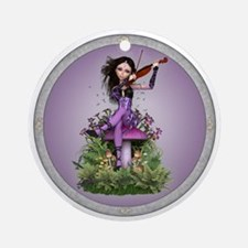 Amethyst Fairy and Violin Ornament (Round)
