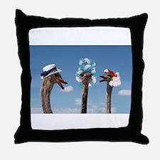 Crazy Hat Day - Ostrich Fashion Throw Pillow