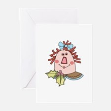 CHRISTMAS RAG DOLL Greeting Cards