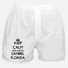 Keep calm we live in Sanibel Florida Boxer Shorts