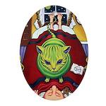 Alien Abduction Cat Oval Ornament