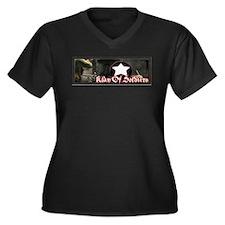 Cute Defeat Women's Plus Size V-Neck Dark T-Shirt