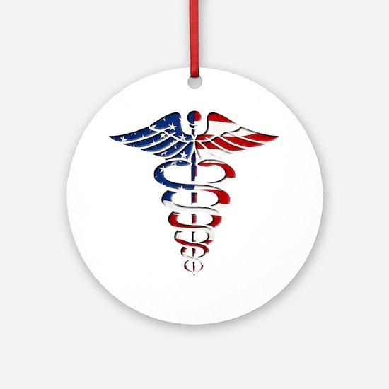 American Caduceus Ornament (Round)