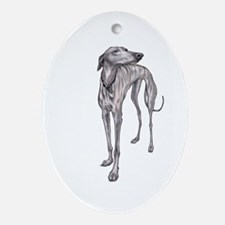 Olive the Whippet Ornament (Oval)
