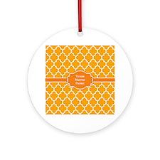 Custom Name Orange Quatrefoil Ornament (Round)