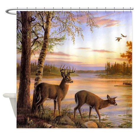 Awesome Deer Scene Shower Curtain