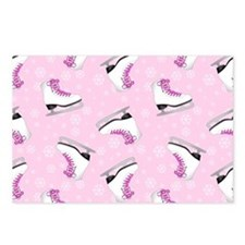 Pink Ice Skating Pattern Postcards (Package of 8)