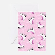 Pink Ice Skating Pattern Greeting Cards (Pk of 10)