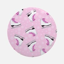 Pink Ice Skating Pattern Round Ornament