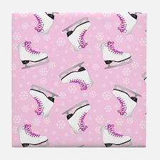 Pink Ice Skating Pattern Tile Coaster
