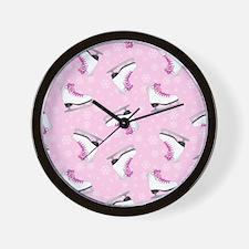 Pink Ice Skating Pattern Wall Clock
