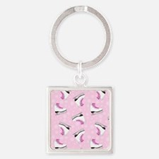 Pink Ice Skating Pattern Square Keychain