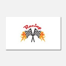 RACING FLAMING FLAGS Car Magnet 20 x 12