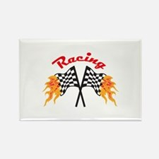 RACING FLAMING FLAGS Magnets