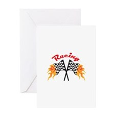 RACING FLAMING FLAGS Greeting Cards