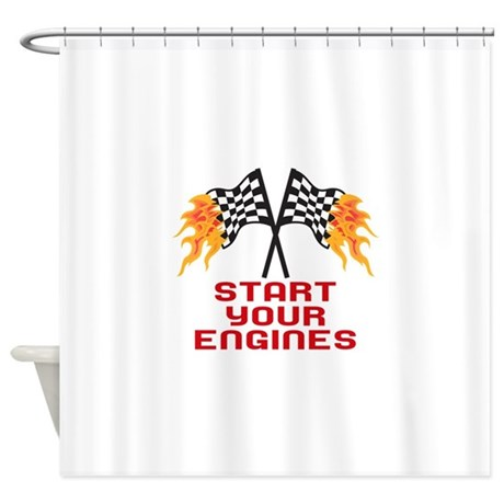 start your engines shower curtain by greatnotions24. Black Bedroom Furniture Sets. Home Design Ideas