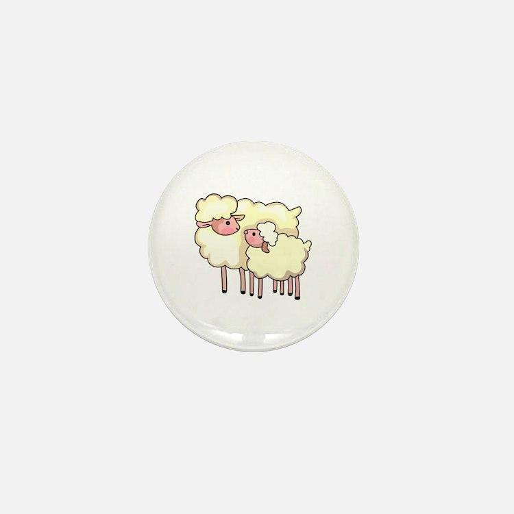 EWE WITH BABY LAMB Mini Button