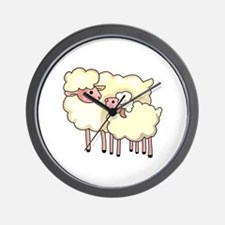 EWE WITH BABY LAMB Wall Clock