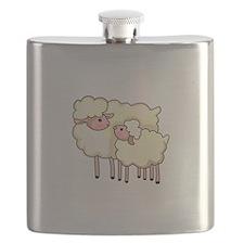 EWE WITH BABY LAMB Flask