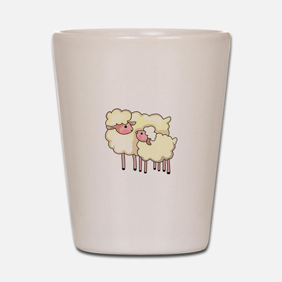 EWE WITH BABY LAMB Shot Glass