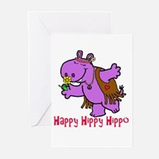 Happy Hippy Hippo Greeting Cards