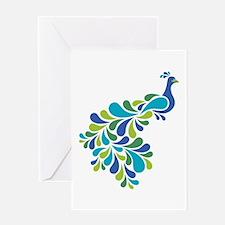 Retro Peacock Greeting Cards