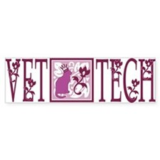 vet tech floral pink royal cat Bumper Bumper Sticker