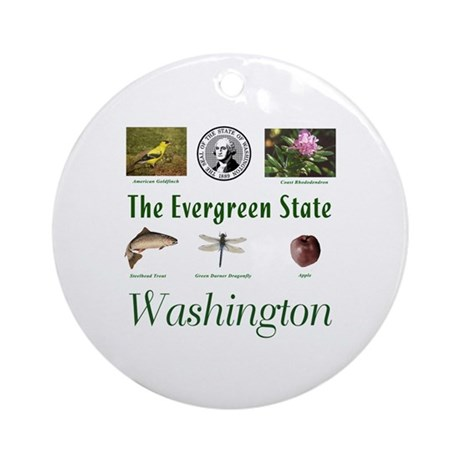 Evergreen State (green) Ornament (Round)