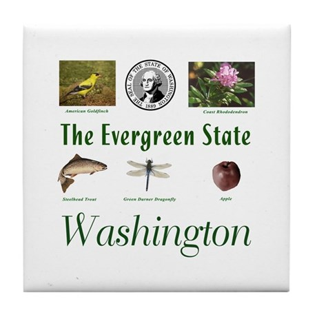 Evergreen State (green) Tile Coaster