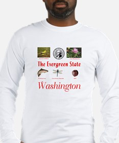Evergreen State (red) Long Sleeve T-Shirt