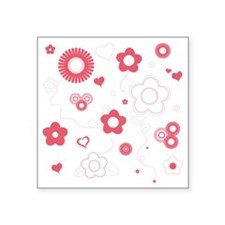 "Transparent Rose Floral Square Sticker 3"" x 3"""