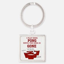 Cute Beer pong Square Keychain