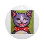 Merry Christmas Cat Ornament (Round)