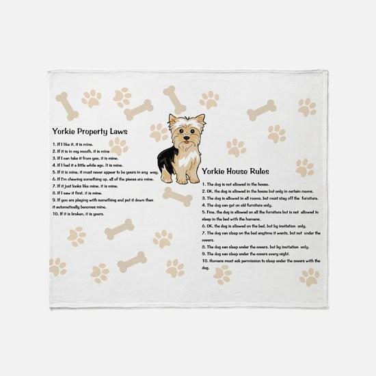 Yorkie House Rules Throw Blanket
