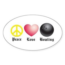 Peace, Love, Bowling Oval Decal