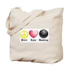 Peace, Love, Bowling Tote Bag
