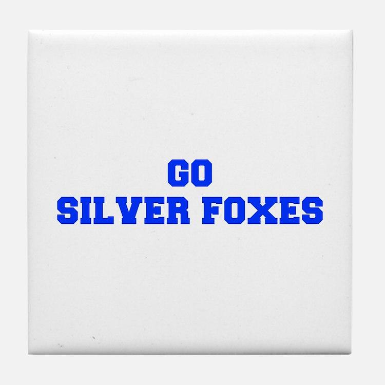 Silver Foxes-Fre blue Tile Coaster
