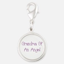 Grandma of an Angel Silver Round Charm