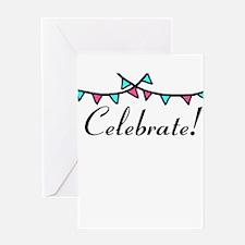 Pink Teal Celebrate Greeting Cards