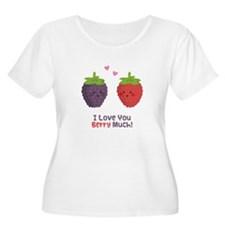 Cute Cartoon Love You Berry Much Plus Size T-Shirt