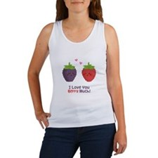 Cute Cartoon Love You Berry Much Tank Top