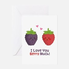 Cute Cartoon Love You Berry Much Greeting Cards
