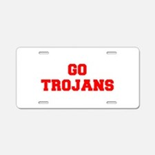 TROJANS-Fre red Aluminum License Plate