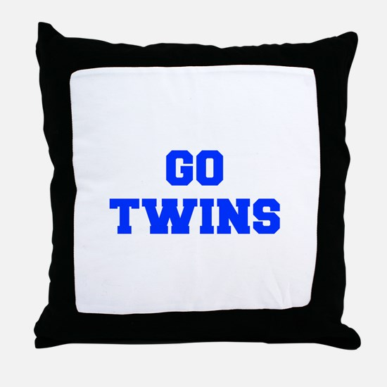 twins-Fre blue Throw Pillow